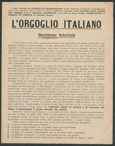 L' orgoglio italiano manifesto futurista Marinetti Il futurismo e la guerra