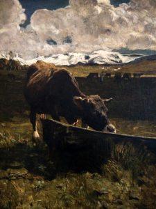Giovanni Segantini (1858- 1899) Vacca bruna all'abbeveratoio 1887