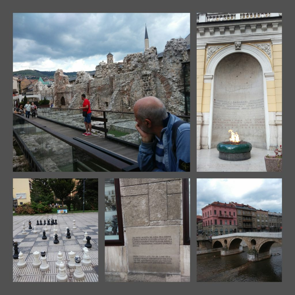 Caravanserraglio, Vječna Vatra (fiamma eterna) e Ponte Latino con targa a ricordo assassinio Francesco Ferdinando