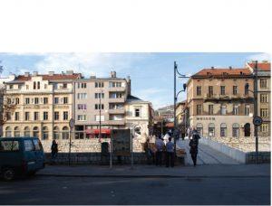 Il luogo dell'attentato a Sarajevo dal Ponte Latino oggi