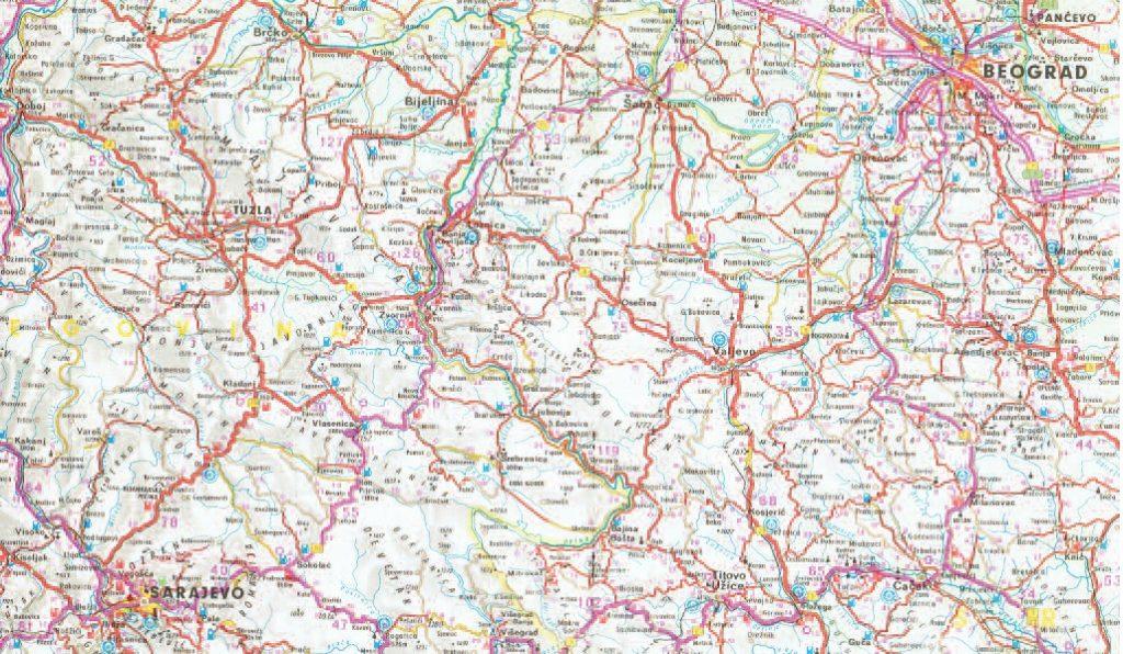 La cartina con le città che attraversarono Princic, Grabez e Cabrinovic nel loro percorso per portare le armi da Belgrado a Sarajevo