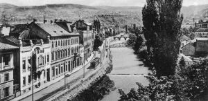 I sei assassini erano in attesa sulla linea del lungo fiume , il viale principale lungo il fiume Miljacka [1] Muhamed Mehmedbasic. [2] Vaso Cubrilovic. [3] Nedeljko Cabrinovic. [4] Cvjetko Popovic. [5] Gavrilo Princip. [6] Trifun Grabez. Danilo Ilic, il capo dell'organizzazione si trova vicino a Popovic.