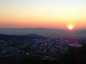 Il sole tramonta su Nova Gorica e Gorizia dal Kekec - Colle di Santa Caterina