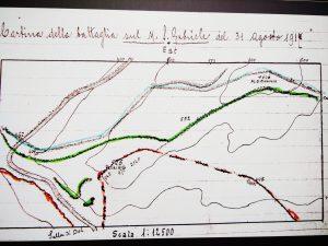Cartina della 11^ battaglia dell'Isonzo sul San Gabriele