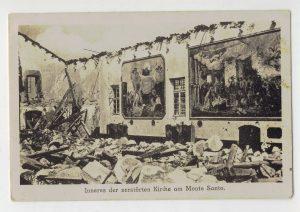 All'interno della Basilica di Monte Santo bombardata