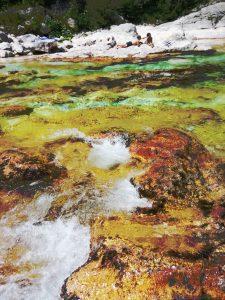L'acqua dell'Isonzo nei pressi del Camping Lepena