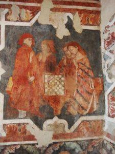 Giocatrici di scacchi - particolare dell'affresco